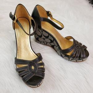 Coach Katherine Size 6 Black Leather Wedge Sandals